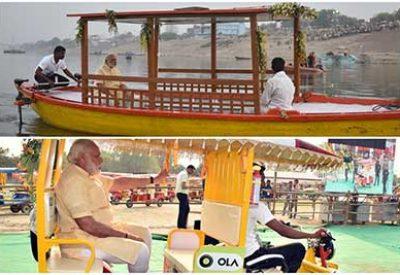 PM Narendra Modi launches solar-powered e-boats in Varanasi; distributes e-rickshaws